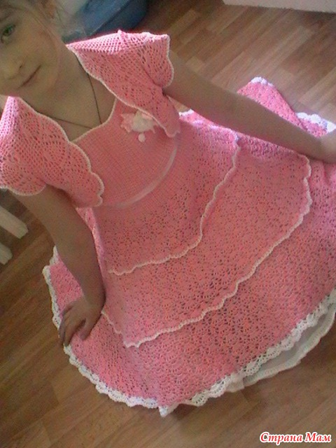 Learn how to work this beautiful crocheted dress for girls