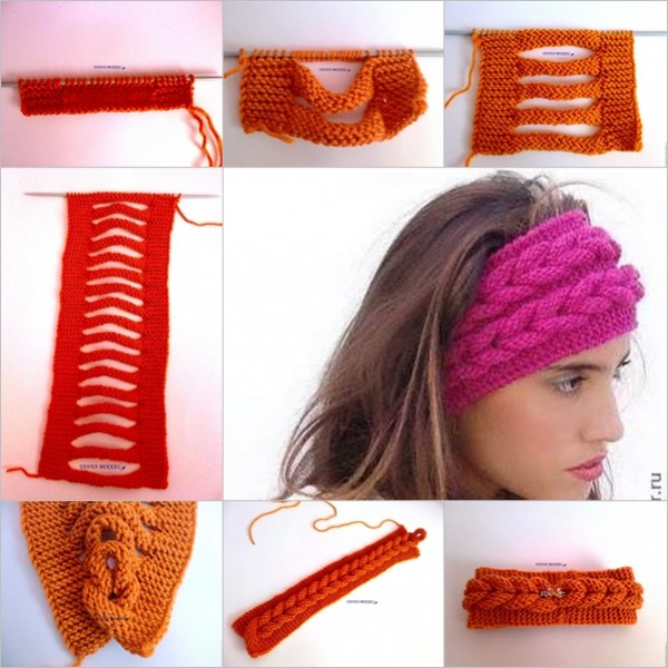 DIY Beautiful Knitted Faux Braid Headband