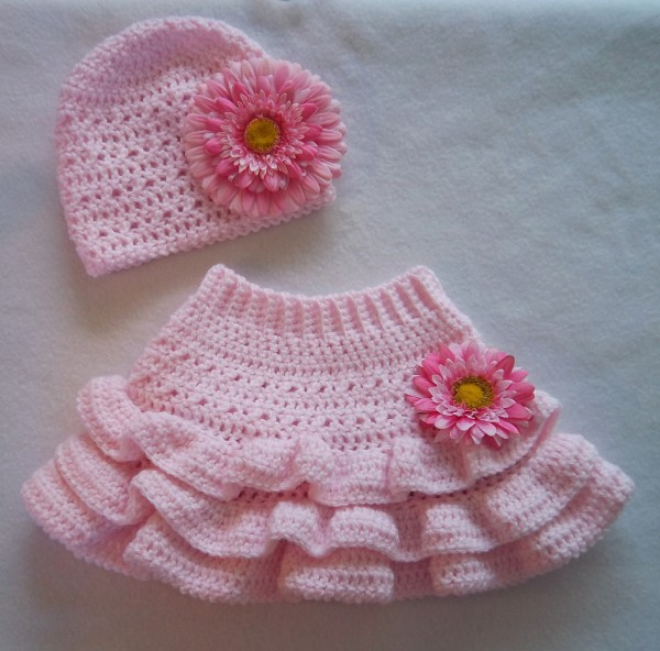 Girls Crochet Skirt Set